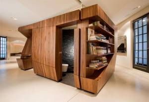 Loft-interior-design-wth-wooden-compartment