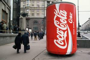 Large Coca-Cola Can Advertisement in Moscow
